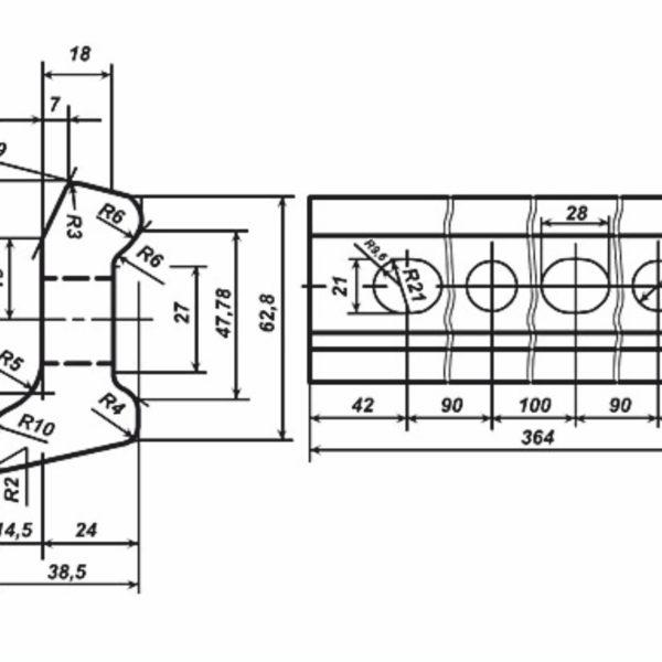 чертеж стыковой накладки Р-33